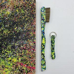 Trash splat- Neon yellow/black/blue
